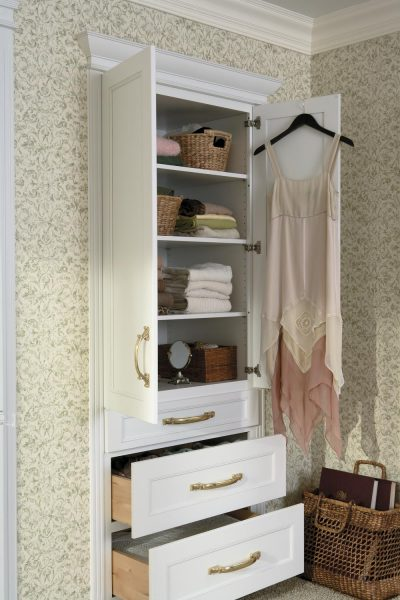 Built In Tall Cabinet With Shelves And Drawers Bath Silhouettes Portico Collection